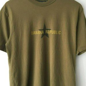 Banana Republic Logo Graphic Tee Shirt Star Brown